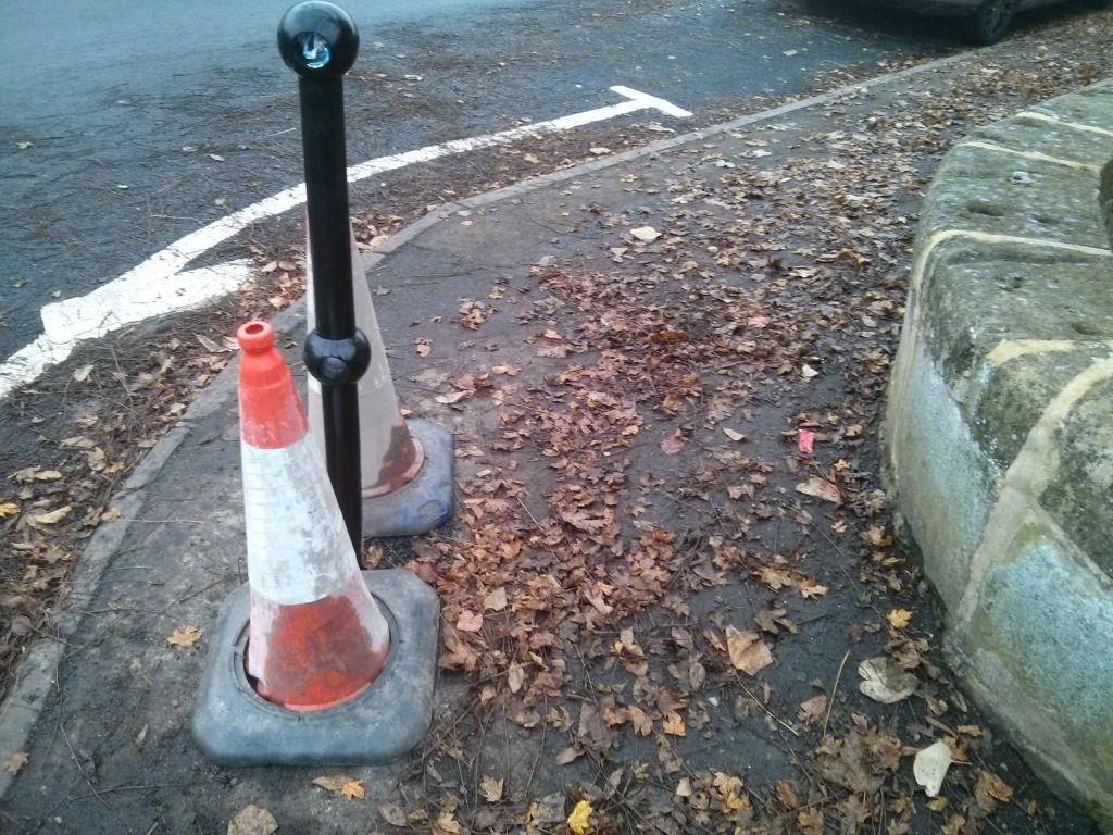 Bollard on the corner of Shakespeare avenue installed to protect children walking to school from vehicles taking the corner.