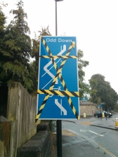 Dangerous manoeuvre sign on Wellsway at junction with Midford Road