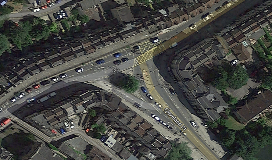 London Road, Cleveland Road Junction showing wasted public space due to traffic lights.