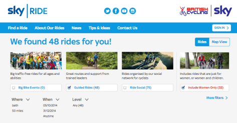Go Sky Ride results page