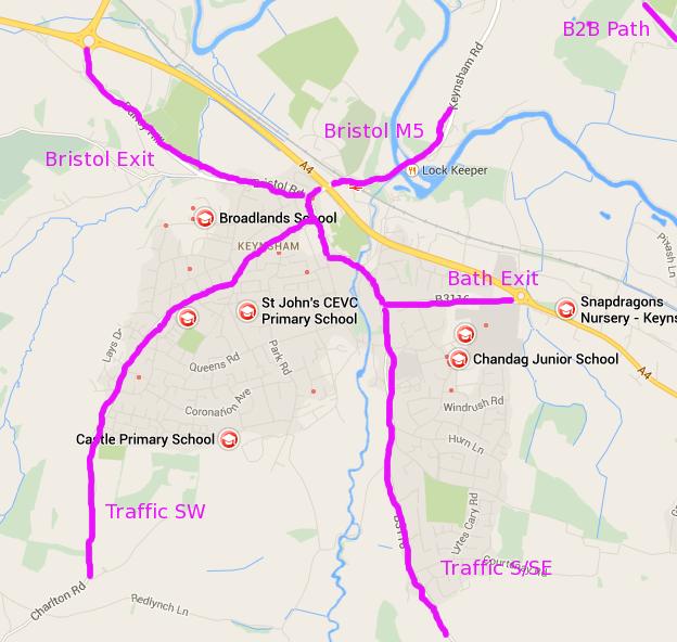Keynsham with key routes.