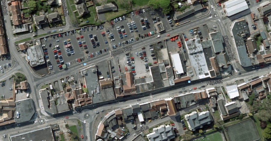 Keynsham High Street showing Ashton Way behind it