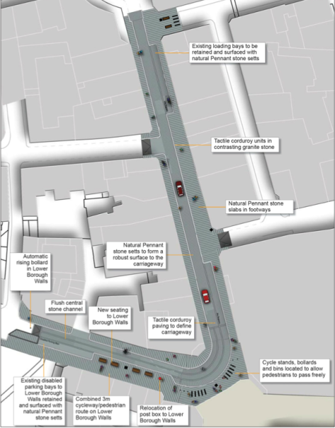 Lower Borough Walls and Stall Street street plan