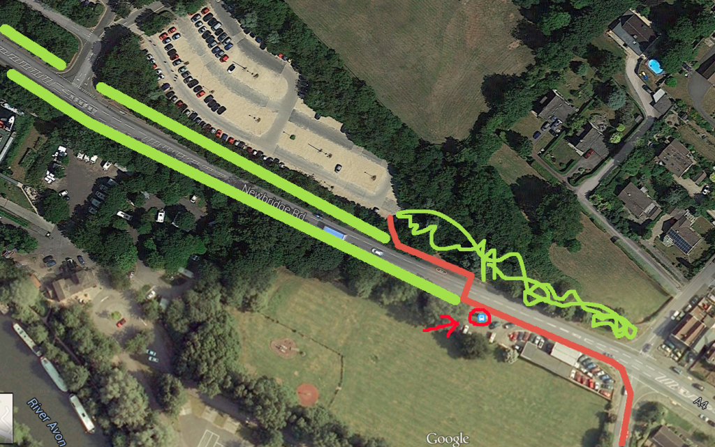 Green is scubland. Red is the route people naturally want to take when getting to the river path. Bus stop has been highlighted. Expect some people to want to walk from there to the Park and Ride.