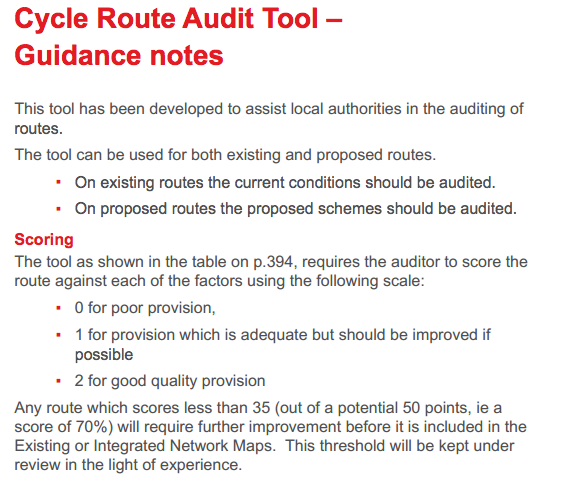 Cycling Audit Tool