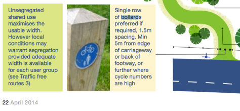Sustrans Guidance: Post set 1.5m apart 5m from entrance IF necessary.
