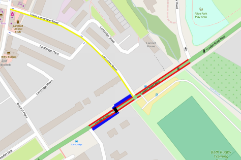 Lambridge to Grosvenor Bridge and London Road layout. Red = Protected cycle lane, Blue = widened shared path, Black = Toucan, Yellow = Cycle Contraflow. Requires removal of 72.41m bus lane between Gloucester Road and Grosvenor Bridge Road