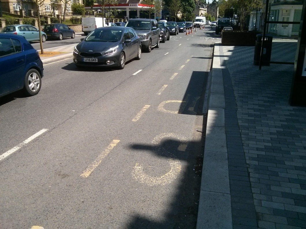 Bus Stop marking showing widening of footpath.