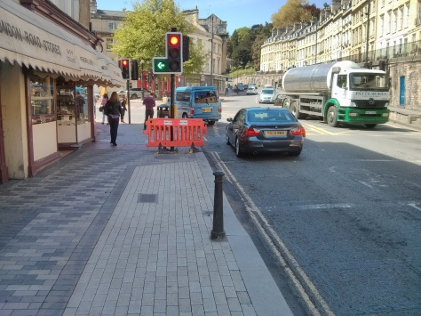 Everyone ignores the end of the cycle track and rides round to St John's Road. You'd be suicidal not to.