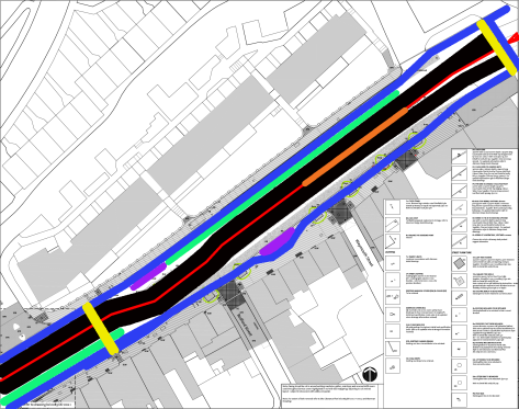 London Road - Black = road, yellow = pedestrian crossing, blue = protected cycle track, green = parking, orange = space for safe island.