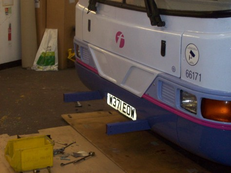 Bumper in place with mounting points. Note that this is a refurbished old bus.