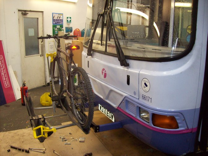 Front of Bus Cycle Racks, the DVSA says no.