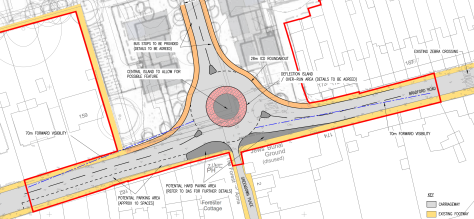 The Highways approved 28 metre diameter roundabout design..
