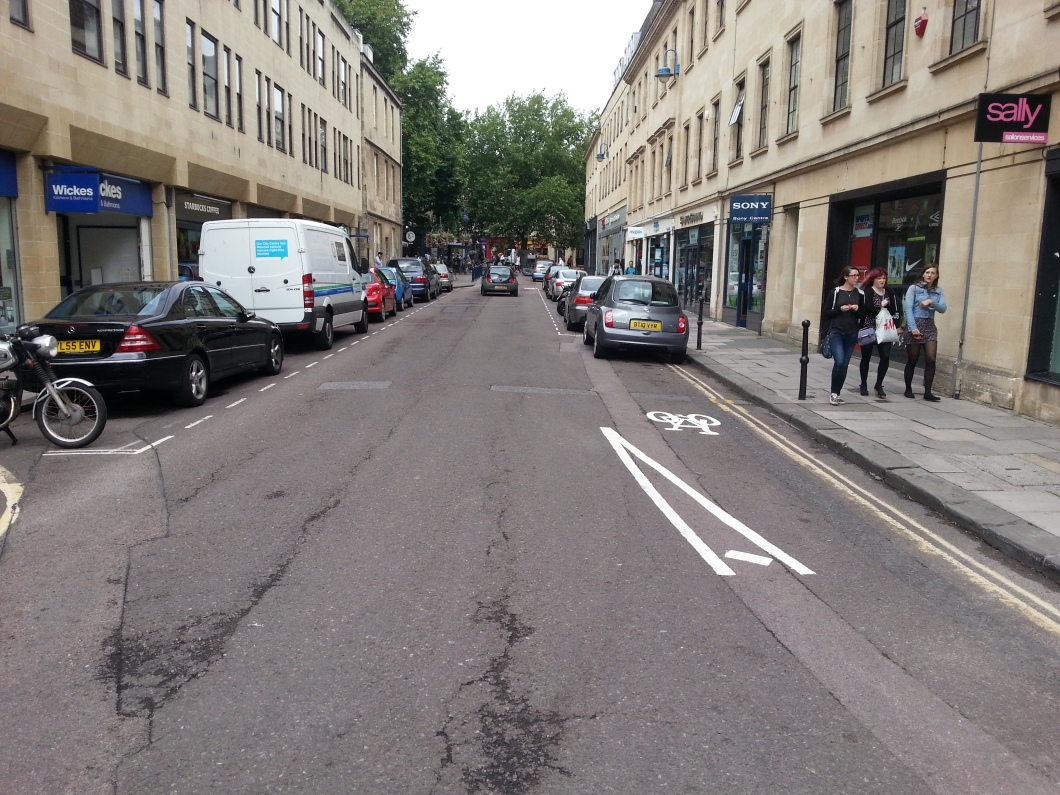 Avon Street Cycle Contraflow almost clearly marked. Again missed opportunity to create a cycle track protected by parking.