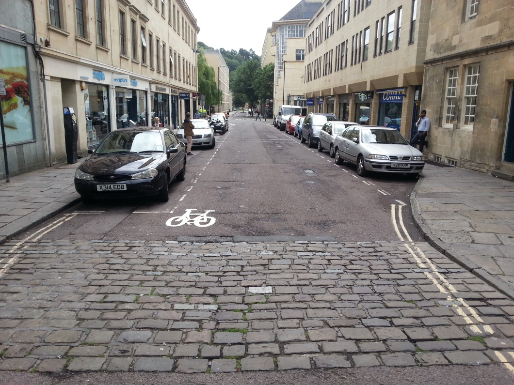 The cycle contraflow on Avon Street that SHOULD have been a RADICAL moving of parking into the centre of the street and creating a protected cycle track.