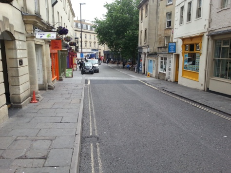 The MISSING Monmouth Street contraflow. Not parking within the shared space. This needs should be a  No Parking 24/7.