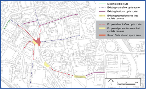 The plan of the work. Note that Monmouth Street and New Street contraflows are not implemented. All contraflows are also poorly identified which will cause unnecessary conflict between cyclists and pedestrians.