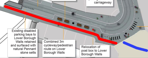 Lower Borough Walls showing proposed cycleway/pedestrian shared path in red and existing cycle path in blue.