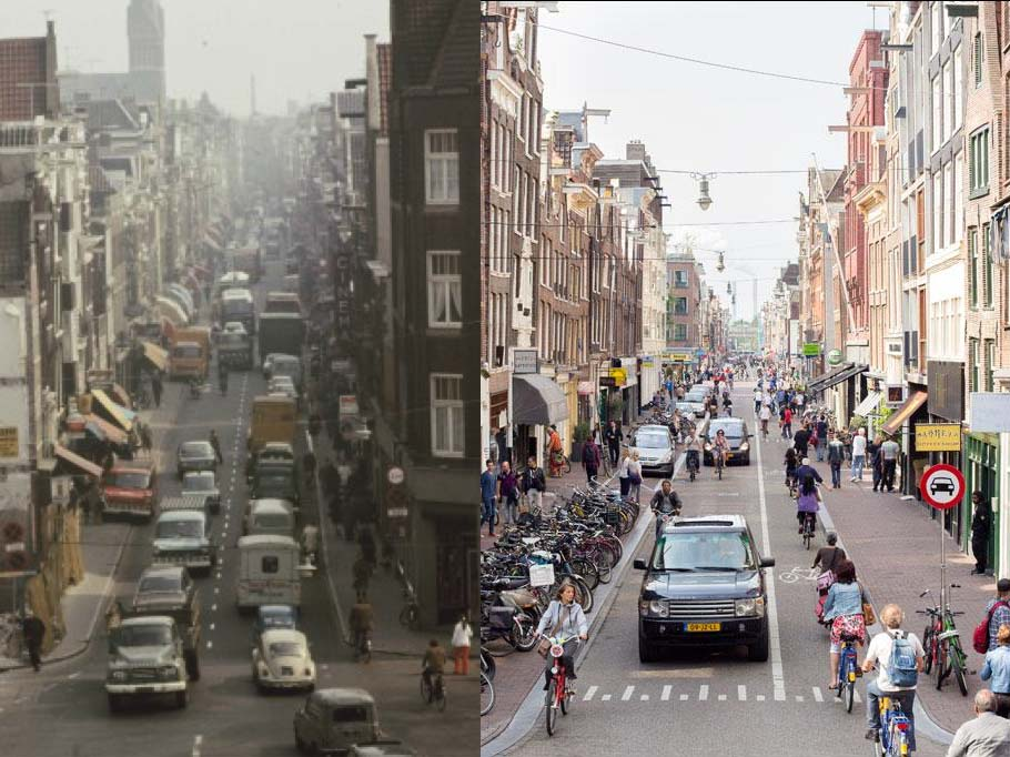 Amsterdam Street 1970s vs now. Note the pavement cycling in the picture on the left.