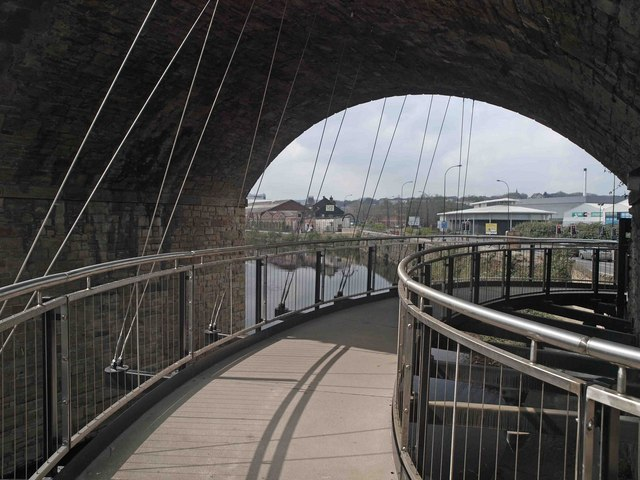The type of suspended walkway that I see being there. Probably 3m wide.
