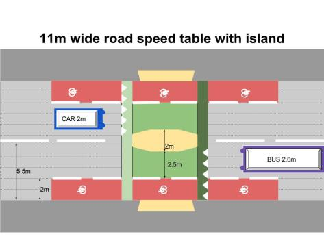 11m wide road speed table with island