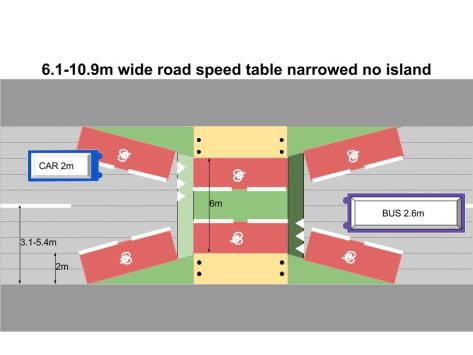 6.1-10.9m wide road speed table narrowed no island