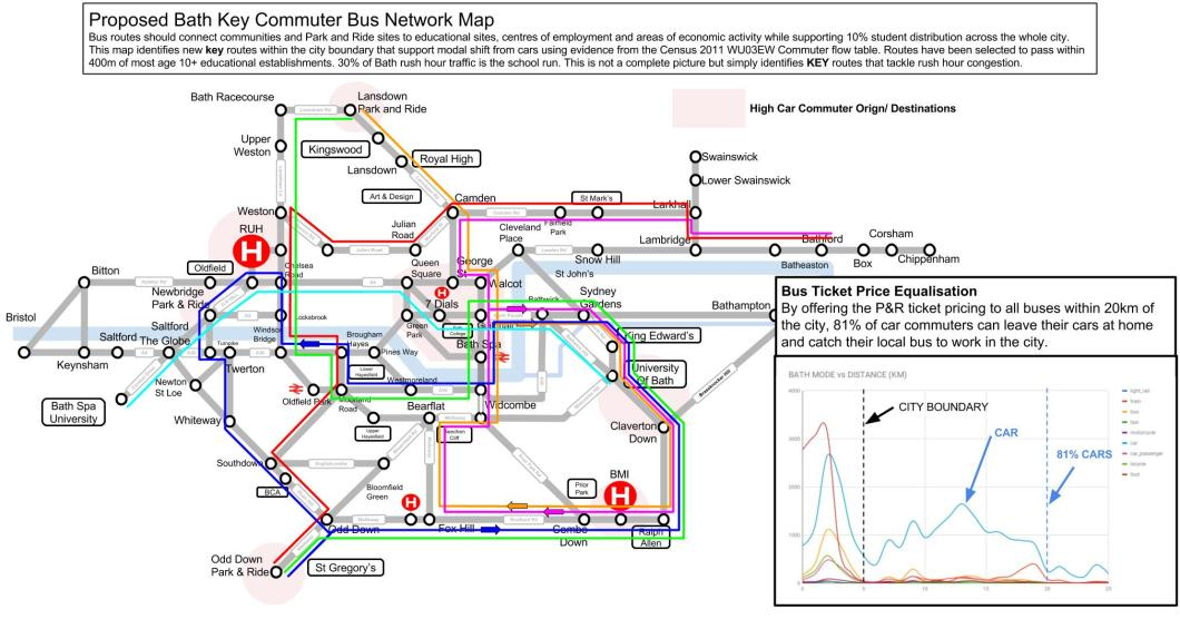 Bath Key Bus Network Map