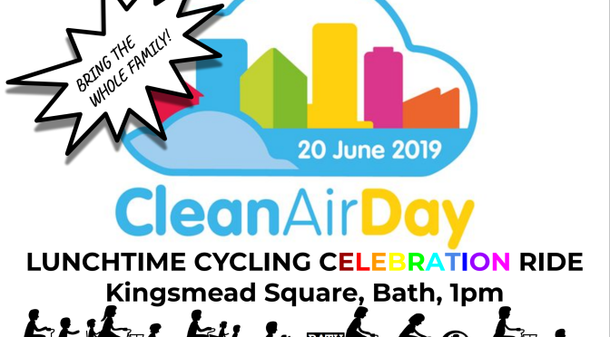 #CleanAirDay Cycling Celebration Ride  Kingsmead Square 1:15pm today!